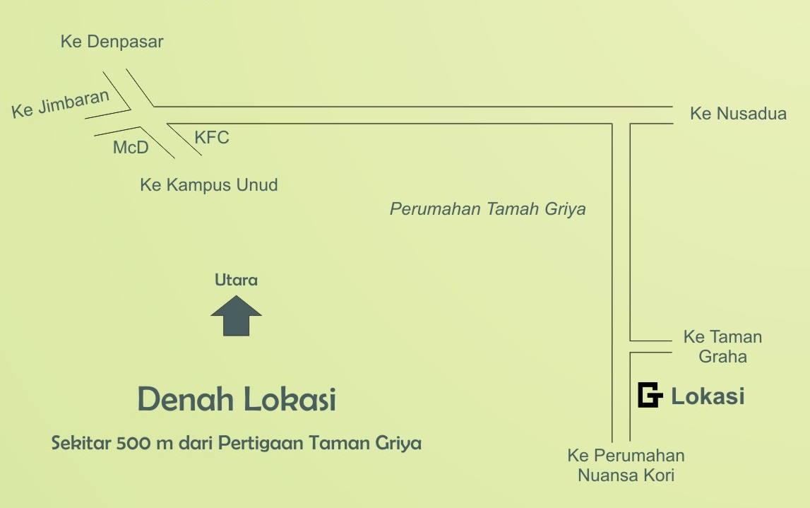 Denah Lokasi Trend Global Salon, Spa, Barber Jimbaran Bali